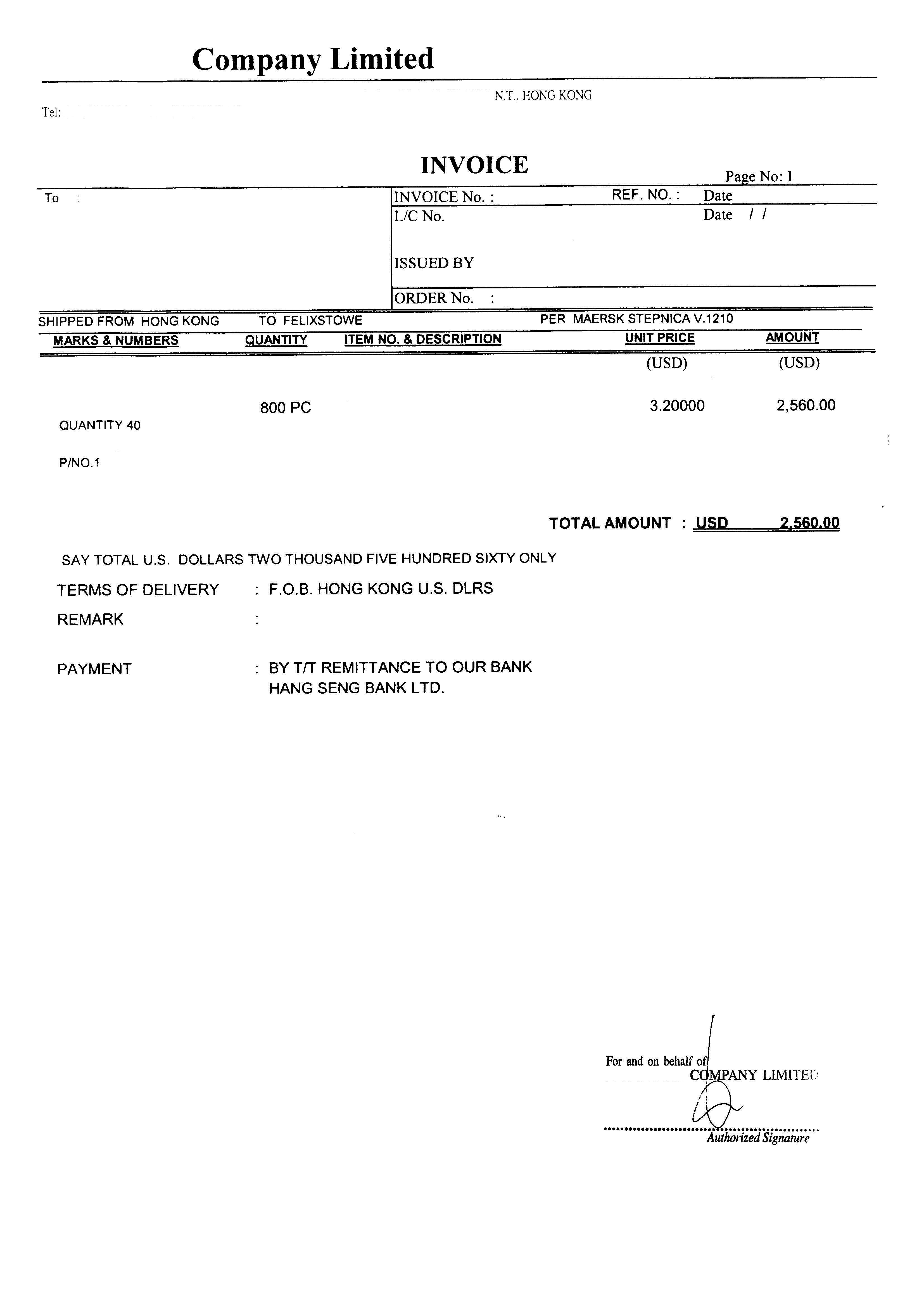 Blank commercial invoice template